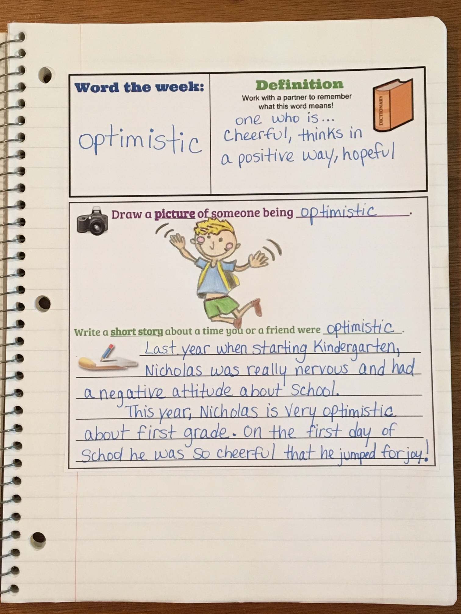 Interactive vocabulary notebook page including definition, drawing a picture of the word and writing a short story themed around the word of the week,